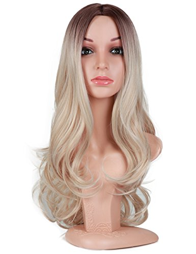 Fani Wigs Long Wavy Ash Blond Ombre Wigs for Women Dark Brown Roots Body Wave Middle Part Synthetic Full Wig Cosplay Wigs with Free Wig Cap