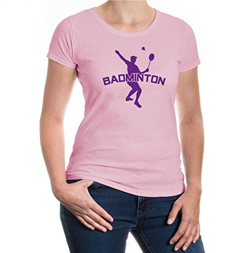 Girlie T-Shirt Badminton-M-lightpink-purple