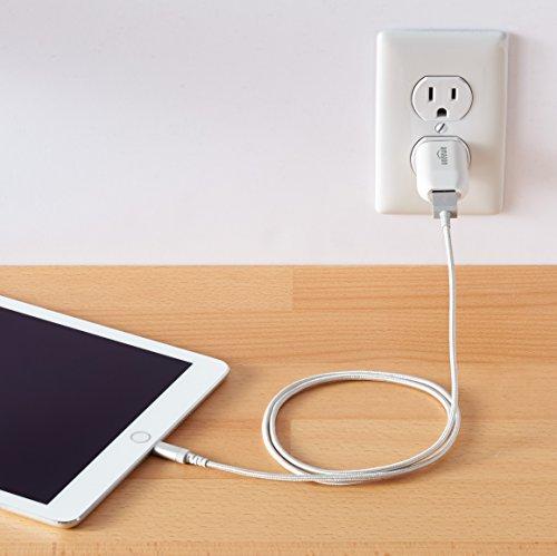 AmazonベーシックライトニングケーブルUSB【iPhone対応/AppleMFi認証】シルバー0.9m高耐久ナイロン製
