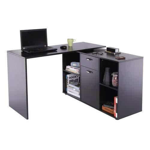 HOMCOM MDF Dual-use Adjustable Large L-Shaped Computer Desk Laptop Workstation Corner PC Table Home Office Functional Spacious Modern Stylish - Black