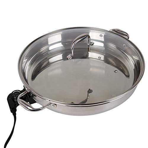 """Electric Skillet By Cucina Pro - 18/10 Stainless Steel with Tempered Glass Lid, 16"""" Round"""