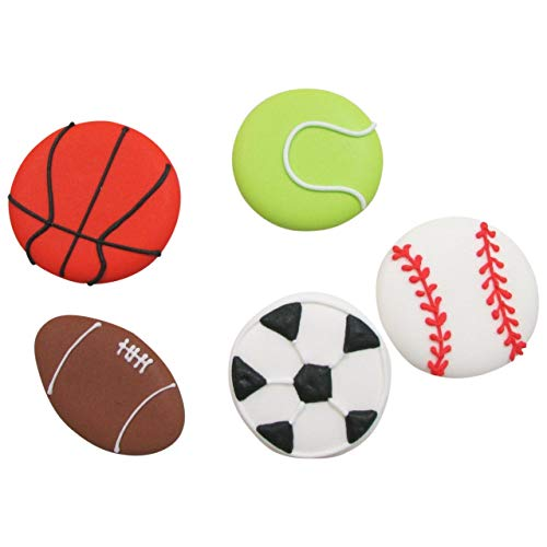 Set of 15 Royal Icing Sports Balls - Edible Cupcake Toppers by Sugar Deco (Assorted)
