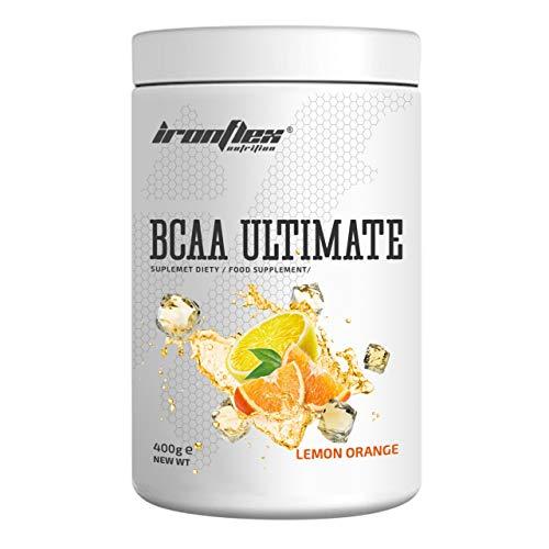 IronFlex BCAA Ultimate - 1 Pack - Branched Chain Amino Acids in Powder - Muscle Regeneration – Anticatabolic – Citrulline Malate (Lemon Orange, 400g)