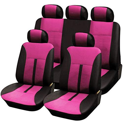 E-starain Autoschonbezug Set Autositzbezüge universal Schonbezüge aus Kunstleder für Autos,Schwarz-Pink
