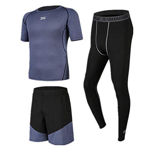 Conjunto de Compresión para Hombre Juego de Ropa de 3 Piezas para Hombre con Mangas Cortas, Pantalones Cortos para Correr, Leggings de compresión para el Ciclismo Corriendo Gimnasio