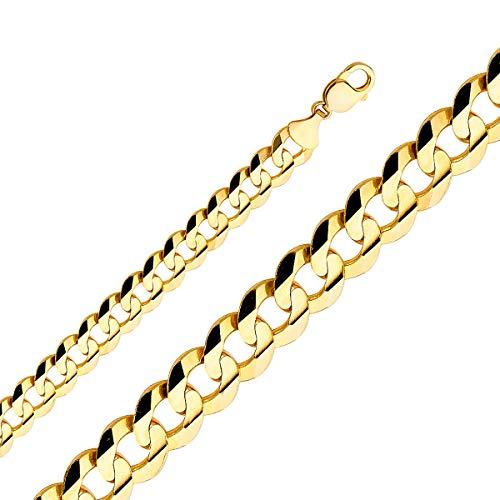 TGDJ - Cadena de oro amarillo de 14 quilates para hombre de 14 mm con cierre de mosquetón
