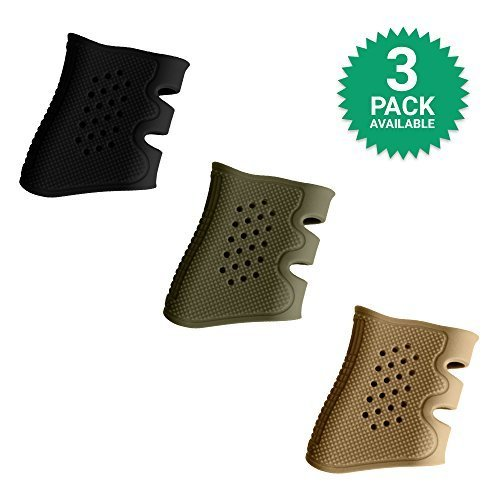 GoZier Tactical Glock Grip Sleeve ✮ The Ultimate Silicone Rubber Sleeve ✮ Fits Glock 17/19 / 20/21 / 22/23 / 31/32 / 37/38 ✮ (3 Pack; Black, OD Green, Desert Sand)