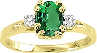 RYLOS Diamantes redondos brillantes y magnífica esmeralda verde engastados en este anillo de diseño clásico en oro amarill...