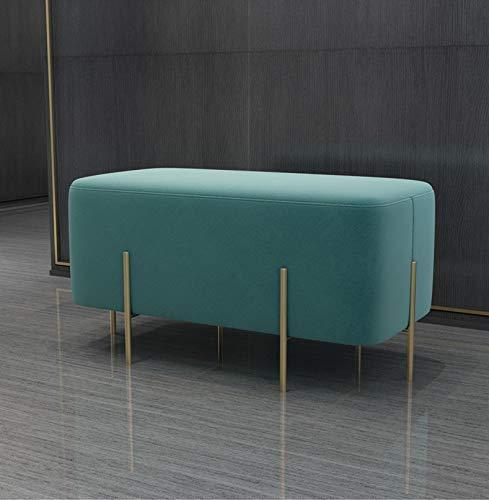 Shoe rack Asientos de banco largos de sofá duradero con marco de metal, otomano con asiento acolchado, taburete de la cama de la cama Dormitorio de vestíbulo Mobiliario de la sala de estar (color: ros