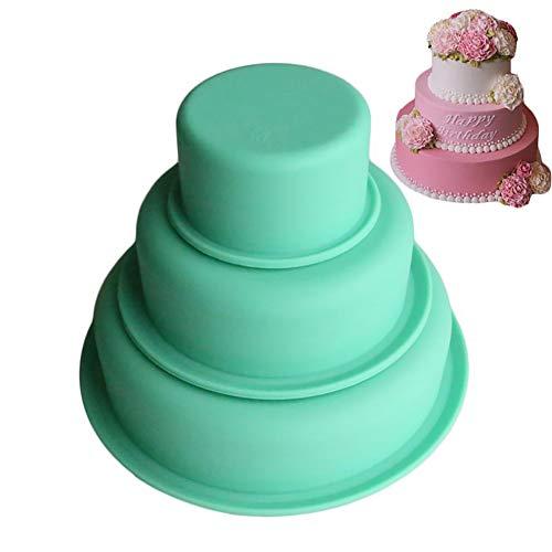 HshDUti 3 Tiers Moule antiadhésif rond de gâteau de silicone, moule de cuisson de fête d'anniversaire de pizza Bakeware green