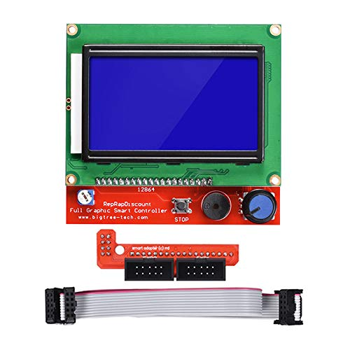 HiLetgo 3D Printer Reprap Smart Controller 12864 LCD Display with Smart Controller Board for 3D Printer RAMPS 1.4 Reprap Mendel Prusa Arduino 128x64 LCD Blue Color