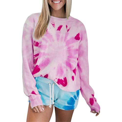 Damen Sweatshirt Langarm Casual Pullover Tops Bluse Tie dye Mode Chic Langarmshirts...