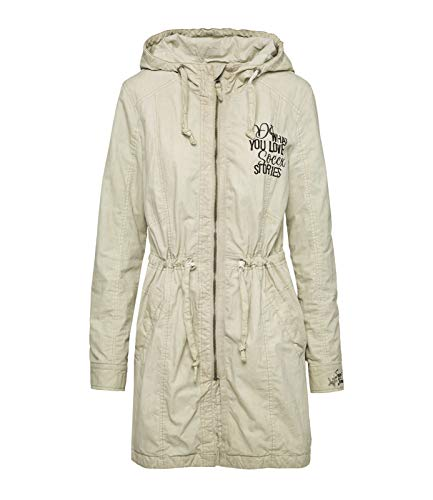 SOCCX Damen Parka mit Used-Optik und Pailletten-Artwork