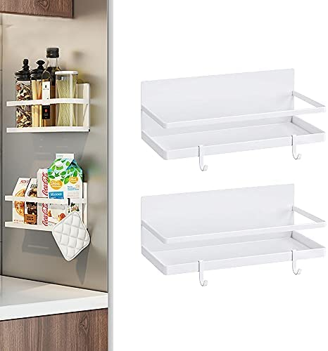 Magnetic Spice Racks White, Gerguirry Magnetic Shelves for Refrigerator Kitchen Shelf Organizers and Storage with 4 Removable Hooks Easy to Install(2 Pack)