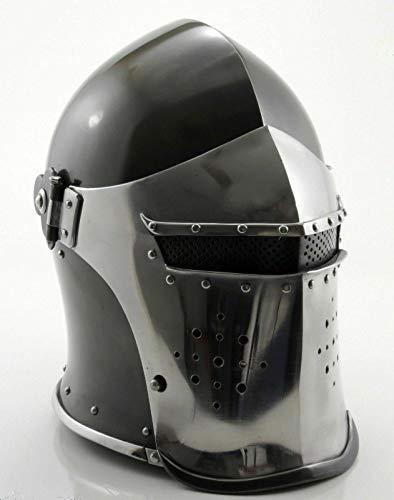 AnNafi Barbuta Viking Battle Knight Helmet | Black Medieval Visored Barbute Helm Armor SCA LARP Replica Costume
