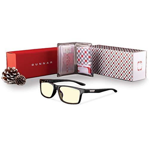 GUNNAR - Gafas de deporte para juegos y computadoras, paquete Vertex Holiday – Incluye gafas de luz azul (marco de ónix, color ámbar), funda dura, bolsa y toallitas, 65% protección de la luz azul