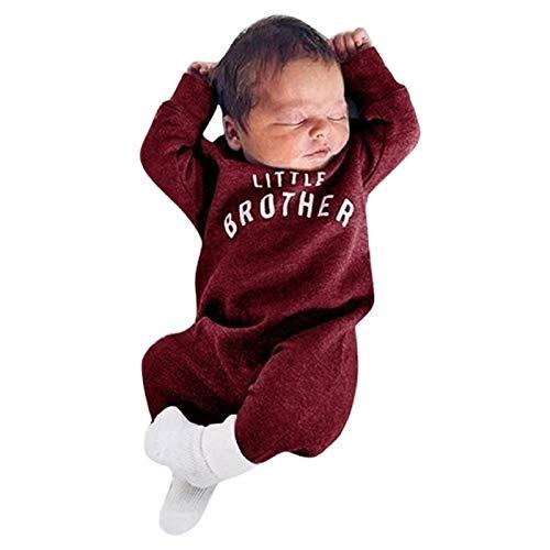 AILIEE Pelele unisex de manga larga con letras del alfabeto para bebé recién nacido, con botón para cartas Vino 0-3 Meses