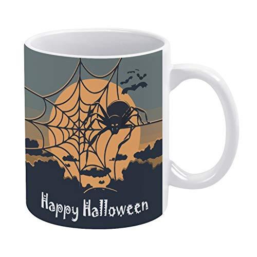 Halloween-Spinnennetz-Kaffeetassen mit Vollmond, weißer Keramik, für Milch, Bier, Tee, Tassen für Frauen, Männer, Kinder, Halloween, Herbst, Vater, Mutter, Geschenke, 325 ml