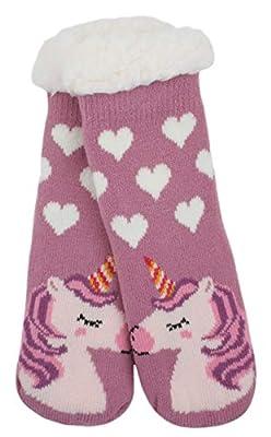 Atino - Calcetines de punto para niñas, diseño de unicornio, color rosa