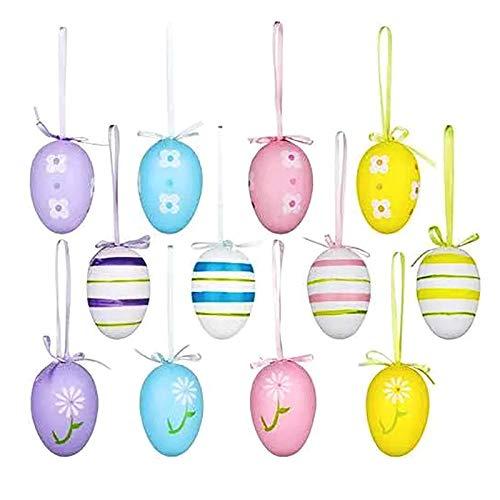LRIO 12pcs Colorate Decorazioni Pasquali Uova di Pasqua,Uova Finte Pasqua, Uova di Pasqua da Appendere, di Plastica Multicolore per la Decorazione e Regali del Partito di Pasqua 6X4CM