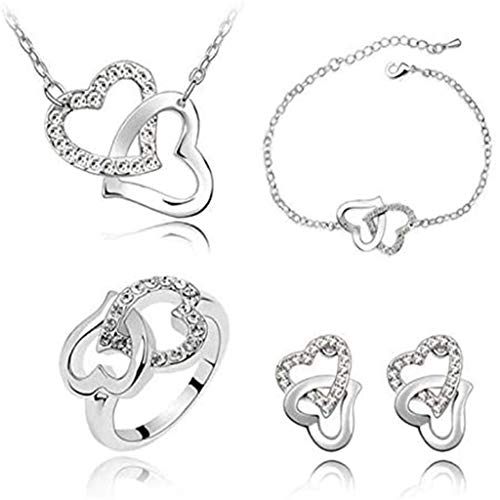 Janly Clearance Sale Pulseras para mujer, collar de cadena de corazón de cristal, juego de joyería para regalo, joyas y relojes para Navidad, día de San Valentín (blanco)