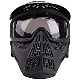Senmortar Full Face Mask Airsoft Masks Tactical Protection Gear with Grey Glasses for Halloween BBS CS Game Costume Accessories Motocross Skiing Black & GreyLens