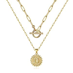 M MOOHAM Gold Layered Initial Necklaces for Women, 14k Gold Plated Paperclip Chain Necklace Coin Initial Necklace Layering Gold Choker Necklaces for Women Letter Necklaces