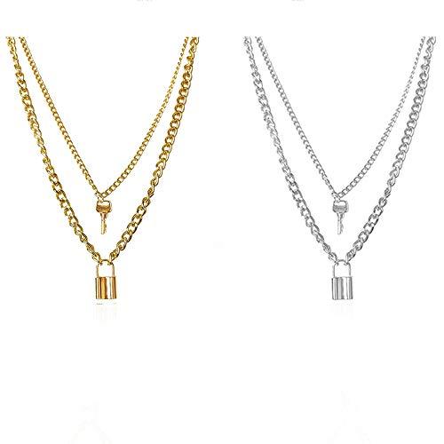Integrity.1 Y Lock Anhänger Halskette, 2 Stück Lock Key Anhänger Halskette, Lock Shape Anhänger Halskette, Lock Kette Schmuck, zum Geburtstagsgeschenk, Valentinstag vorhanden