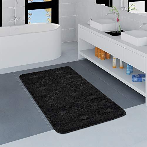 Tapis Salle De Bain Moderne Antidérapant Tapis De Bain Empreintes De Pas Uni Noir, Dimension:80x150 cm