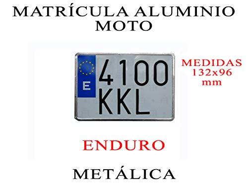 1 MATRICULA Enduro Moto Aluminio Metalica Medida 132x96 mm 100% HOMOLOGADA Moto TAMAÑO Corto Tipo Enduro ULTRABRILLANTE