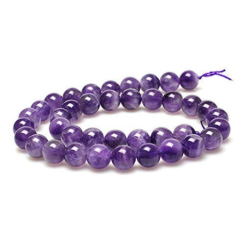 jartc Perline Per Braccialetti Energetico Braccialetto Yoga Braccialetto Fai da Te Perle di Pietra Naturale Cristallo Ametista 60 Pezzi, 34CM,6 mm