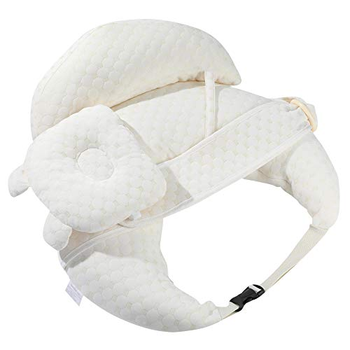 Baby Breastfeeding Pillow and Positioner Boy Girl Infant Feeding Pillow with Headrest Backrest Soft Cotton Nursing Pillow Adjustable Strap Baby Gifts One Beige