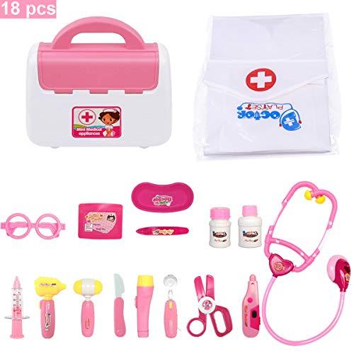 FUQUN 18 Teile Arztkoffer Medizinisches Spielzeug Doktorkoffer Set Rollenspiele Lernspielzeug Geschenke für Kinder