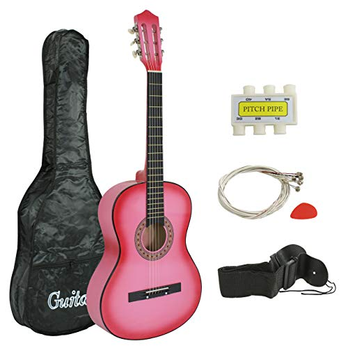 "Smartxchoices 38"" Kids Pink Acoustic Guitar Bundle Kit for Starter Beginner Music Lovers, Six-String Folk Guitar with Gig Bag, Extra Set Steel Strings, Strap, Pitch Pipe and Pick"