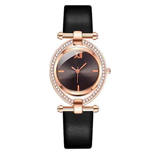 JZDH Relojes para Mujer Relojes de Cuarzo de Cuero para Mujeres Hombres de Moda Reloj de Pulsera de Moda Relojes Decorativos Casuales para Niñas Damas (Color : Black)