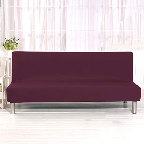 XJHKG Funda Sofa Cama, Universales Plegable Funda De Sofá Futón Couch Clic Clac Cubre Sofá Sin Brazos (Granate,Large)