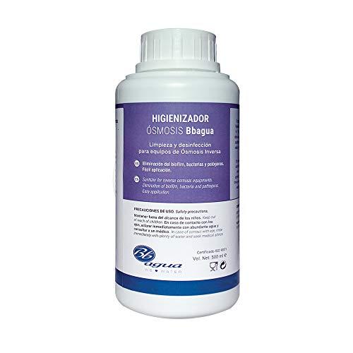 Higienizador de osmosis inversa. 500 ml. Bbagua. Imprescindible usar en cada cambio de filtros de los equipos de osmosis.