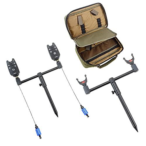 Hirisi Tackle Carp Caña de Pescar Pod Kit Set con soporte para varilla Buzz Bar Banco Palos Pesca Swingers Pesca Bite Alarmas