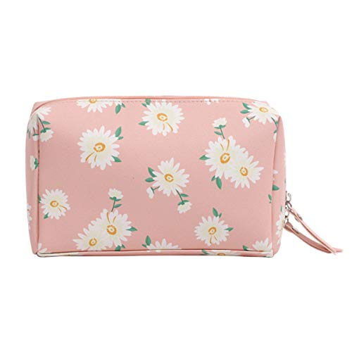 HOYOFO Daisy Print Makeup Bag for Women Girls Soft PU Cosmetic Bag Vegan Leather Travel Make up Bag Organizer Toiletry Makeup Pouch for Purse (Large Pink)