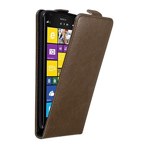 Cadorabo Hülle für Nokia Lumia 1520 in Kaffee BRAUN - Handyhülle im Flip Design mit Magnetverschluss - Hülle Cover Schutzhülle Etui Tasche Book Klapp Style