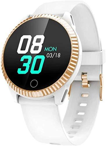 Reloj inteligente IP67 impermeable para hombres y mujeres, reloj inteligente con frecuencia cardíaca, presión arterial, monitor de sueño, fitness, color blanco