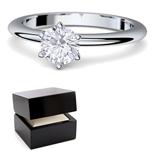 Verlobungsringe Weißgold Ring 585 von AMOONIC ***mit Zirkonia***+ inkl. Luxusetui + Solitär Ringe Zirkonia wie Diamantring Diamant- 585 Verlobungsringe Weißgold - Precious AM195WG585ZIFA56
