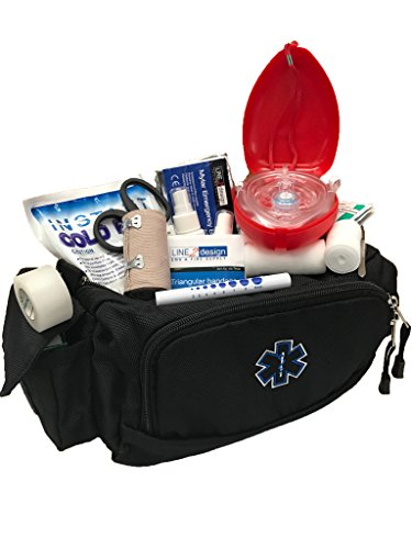 LINE2design Deluxe Rescue First Aid Fanny Pack Kit Large EMS EMT Kit Paramedic Fanny Pack, Multiple Heavy-Duty Zippers Internal Pockets Emergency Equipment Portable Bag - Black