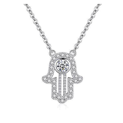 TASGK Aing Store 925 Collar de Mano de Plata esterlina Lucky Fátima Colgante Collar Largo Mujer Calla de Cadena Larga (Gem Color : White, Length : 45cm)