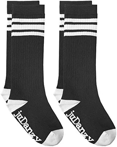 juDanzy Knee High Tube Socks for Boys Girls Baby Toddler and Child 2 Pack 6 Plus Black 2 Pack product image