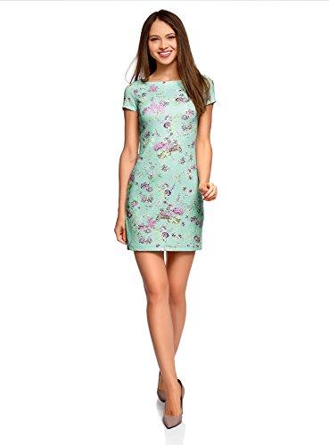oodji Ultra Damen Kleid aus Strukturiertem Stoff mit U-Boot-Ausschnitt, Grün, DE 34 / EU 36 / XS