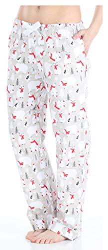 PajamaMania Women's Cotton Flannel Pajama PJ Pants with Pockets, Polar Bears with Scarf, X-Small