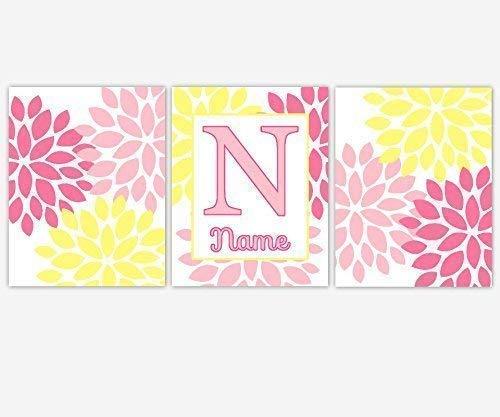 Girls Nursery Long-awaited Decor CANVAS Wall Art Yel Pink - Name Personalize Boston Mall
