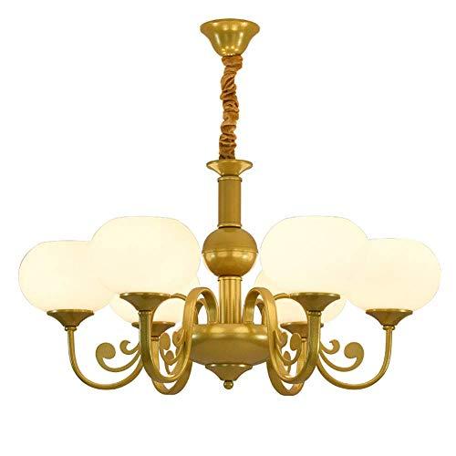 MQJ 8 luces de araña dorada moderna decoración de techo para sala de estar, bola de cristal blanco, iluminación colgante para dormitorio, pasillo, comedor, dorado, 6 luces