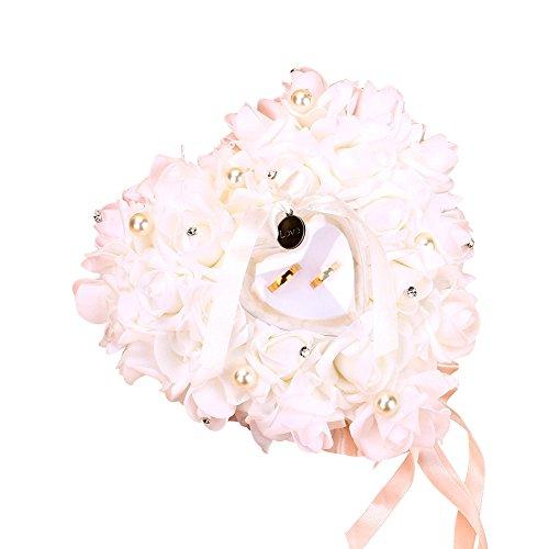 Fdit Caja de Anillo de Corazón de Boda Anillo Blanco Almohada Encaje Cristal Rosa Titular de Anillo Accesorios de Boda